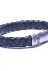 Steel & Barnett Leather bracelet Cornall - black - Size M