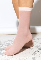 Beck Söndergaard Dana herringbone frill sock - Adobe rose 39/41