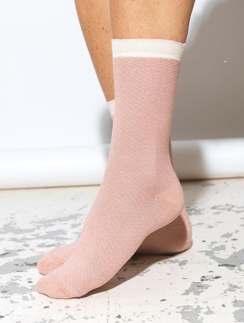 Beck Söndergaard Dana herringbone frill socks - Adobe rose 39/41