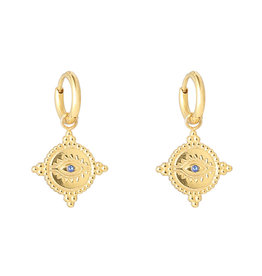 With love Earrings the look - gold blue