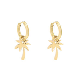With love Earrings summer palm gold