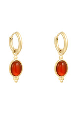 With love Earrings mystic stone - gold orange