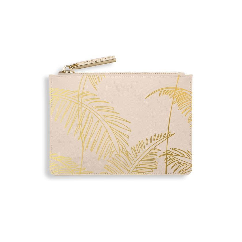 Katie Loxton Katie Loxton gold card holder - palm print nude pink - 12.5 x 8.5 cm