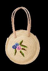 Rice Rice Raffia shoulder bag - flower embroidery 30 x 40 cm