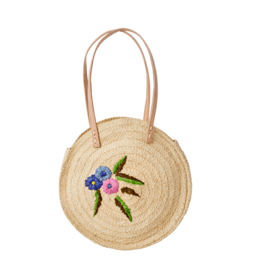 Rice Rice Raffia shoulder bag - flower embroidery 30 x 40 cm