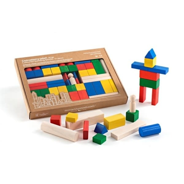 Milaniwood Colored building blocks - Maxi 51 pcs. 30.5 x 18.5 x 3.5 cm