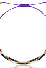 With love Bracelet miyuki pearls purple - black