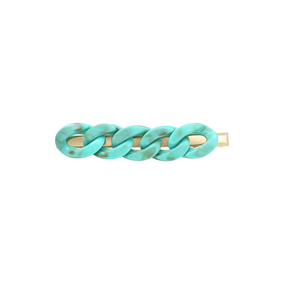 With love Hair clip big chain - aqua