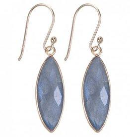 Treasure Silver earrings gold plated - marquis labradorite (grey)