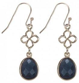 Treasure Silver earrings gold plated - leaf labradorite facet