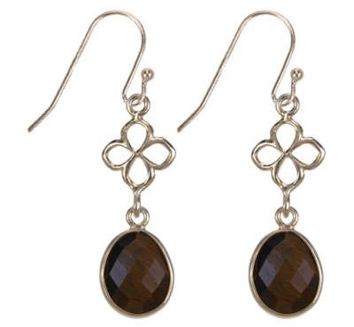 Treasure Silver earrings gold plated - leaf tiger eye facet