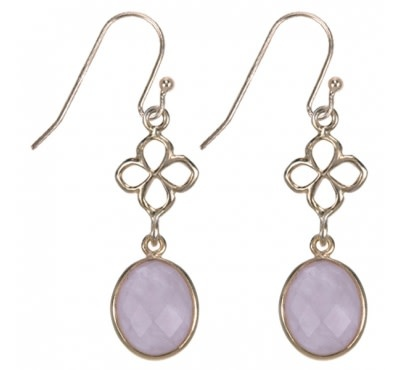 Treasure Silver earrings gold plated - leaf rosequartz facet