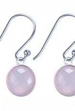 Treasure Silver earrings round 8 mm - pink quartz