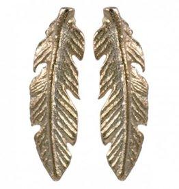 Treasure Silver stud earrings GP angel feather 4 x 14 mm