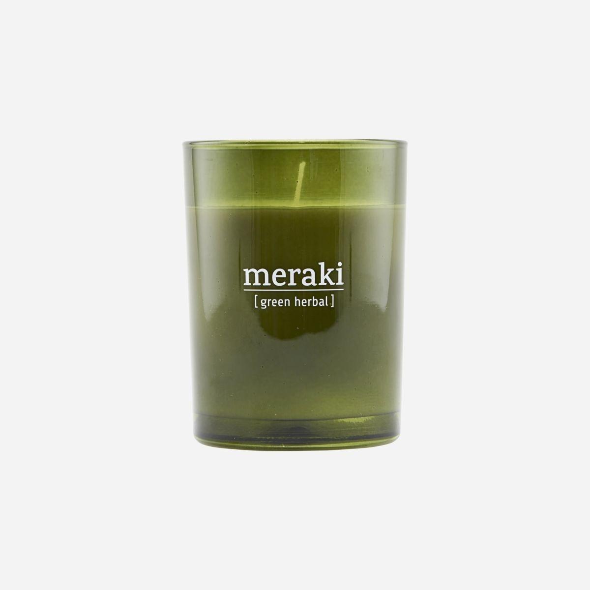 Meraki Meraki scented candle green herbal 8 x 10,5 cm