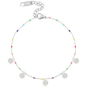 With love Anklet rainbow coins silver
