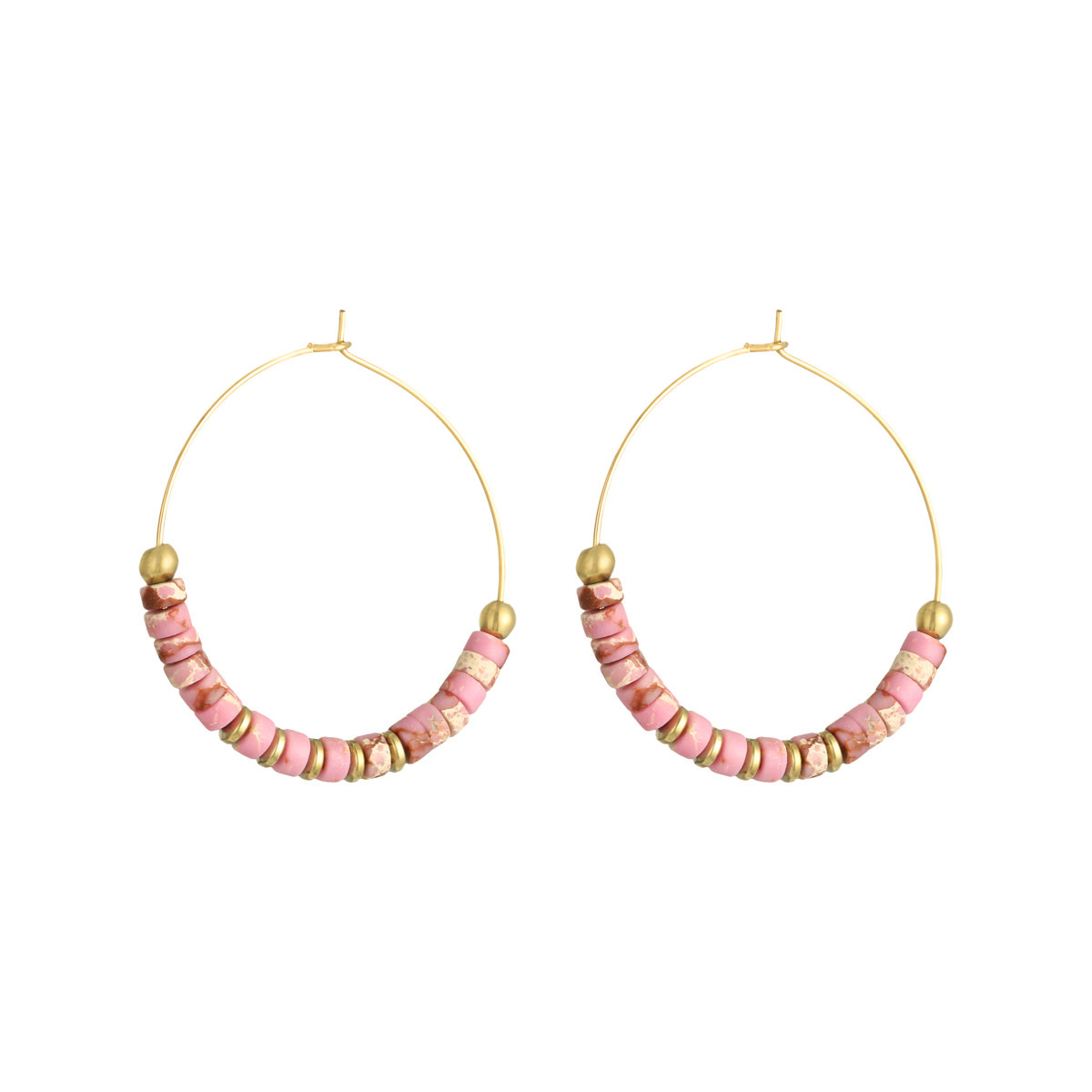 With love Earrings beaded hoops - pink - large