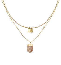 With love Necklace inner strength - gold pink