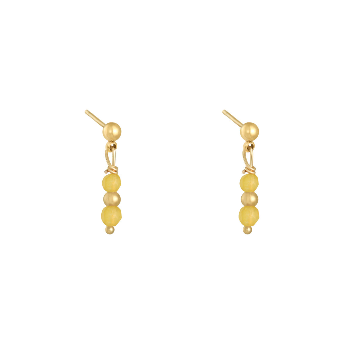 With love Earrings in a row - gold yellow