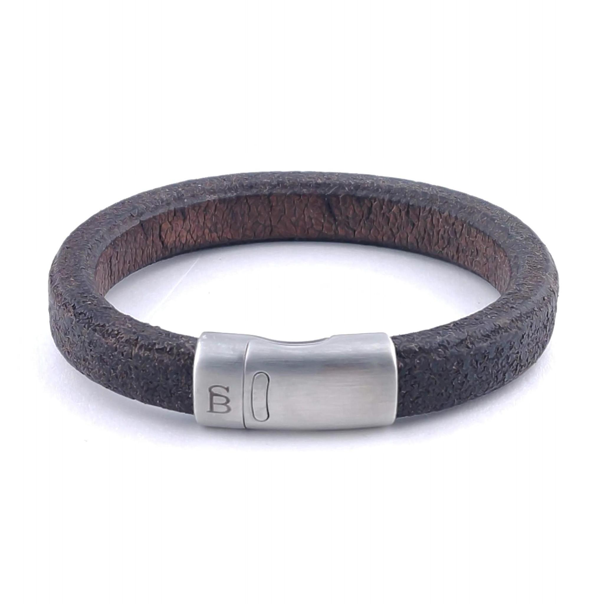 Steel & Barnett Leather bracelet Cornall - Plain brown - Size M