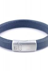 Steel & Barnett Leather bracelet Cornall - Plain navy - Size M