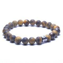 Steel & Barnett Stones bracelet basic - Matt Tiger - Size L