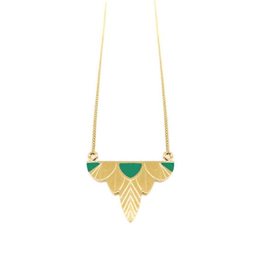 Nadja Carlotti Gold plated necklace Leaf - Green