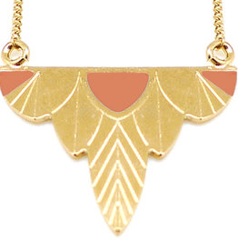 Nadja Carlotti Gold plated necklace Leaf - Peach