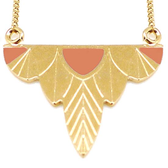 Nadja Carlotti Silver necklace Leaf - Peach