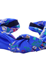 With love Headband silky flowers blue
