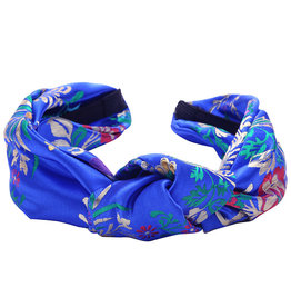 With love Headband silky flowers blue
