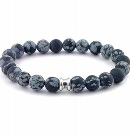 Steel & Barnett Stones bracelet basic - Snowflake - Size M
