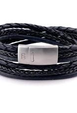 Steel & Barnett Leather bracelet Bonacci - black Size M