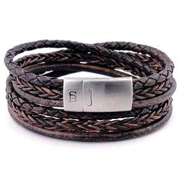 Steel & Barnett Leather bracelet Bonacci - dark brown Size M