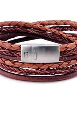 Steel & Barnett Leather bracelet Bonacci - caramel Size M