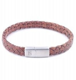 Steel & Barnett Leather bracelet Riley - Caramel - Size L