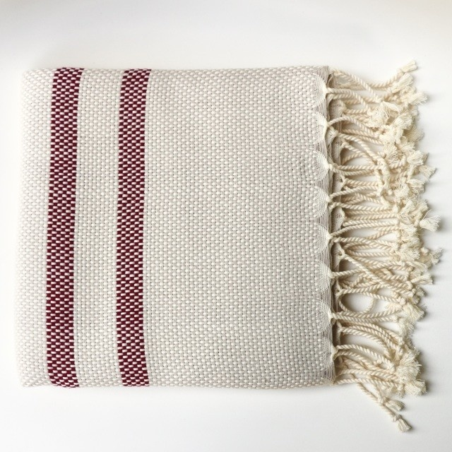 Bon Bini Bon Bini towel Belnem natural / burgundy