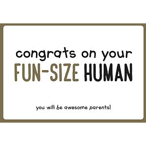 Enfant Terrible Enfant Terrible card  + enveloppe 'Congrats on your fun size human'