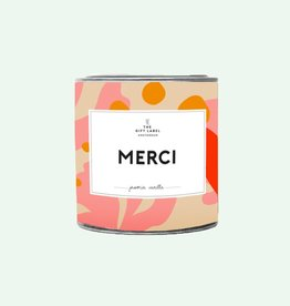 The Gift Label Candle tin 310 gr. - Merci - fresh cotton