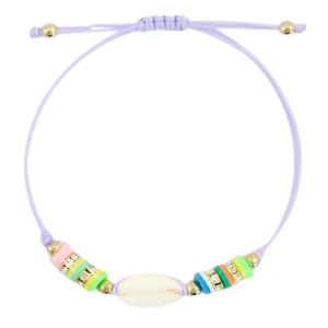 With love Bracelet Kauri shell lilac purple