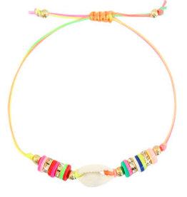 With love Bracelet Kauri shell neon rainbow