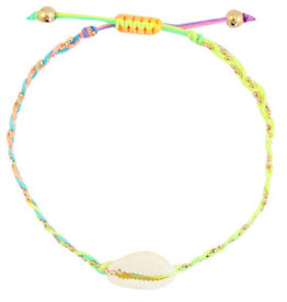With love Bracelet Kauri shell neon rainbow braided