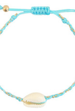 With love Bracelet Kauri shell turquoise braided