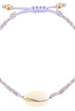 With love Bracelet Kauri shell lilac purple braided