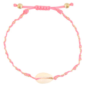 With love Bracelet Kauri shell pink braided