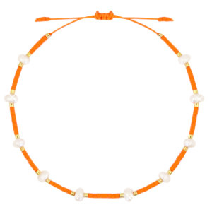 With love Bracelet pearl miyuki orange