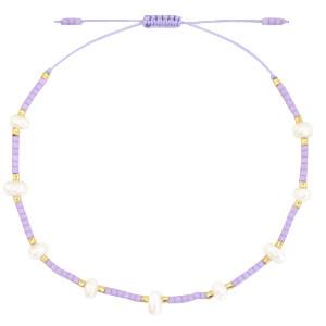 With love Bracelet pearl miyuki lilac purple