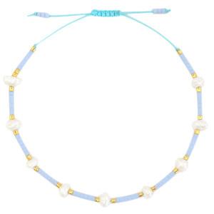 With love Bracelet pearl miyuki light blue