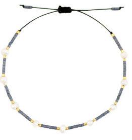With love Bracelet pearl miyuki anthracite
