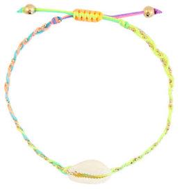 With love Anklet kauri braided neon rainbow